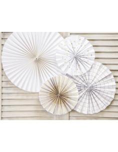 4-rosaces-blanches-rayures-et-etoiles-dorees-deco-baby-shower-bapteme-anniversaire-mariage