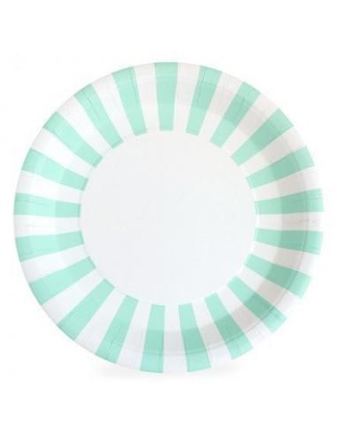 12-grandes-assiettes-bord-raye-vert-menthe-et-blanc-deco-baby-shower-bapteme-anniversaire