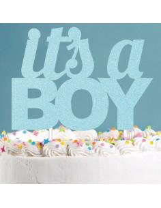 decoration-gateau-it-s-a-boy-paillettes-bleues-cake-topper-baby-shower-garcon