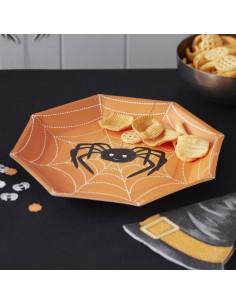 8 assiettes en carton araignée pour décoration fête Halloween