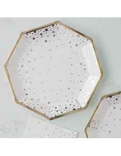 8 assiettes en carton fond blanc étoiles dorées