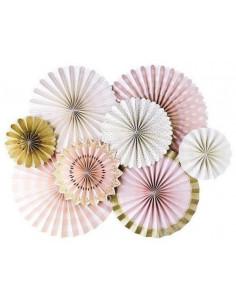 kit-de-8-rosaces-rose-pastel-blanches-et-or-deco-baby-shower-bapteme-anniversaire-evjf
