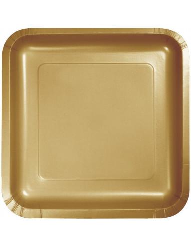 18 petites assiettes dorées carrées en carton hauteur 17cms