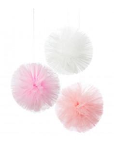 3 pompons décoratifs en tulle rose et écru