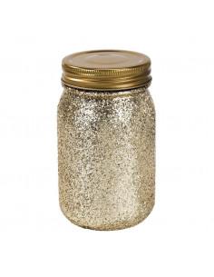 Pot en verre esprit mason jar avec paillettes dorées