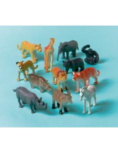 12 figurines petits animaux de la jungle