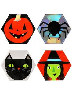 8 assiettes en carton pour décoration halloween Meri Meri