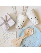 12 petites assiettes bleu ciel pois gris et argent