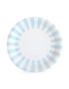 12 grandes assiettes rayures bleu ciel et blanc