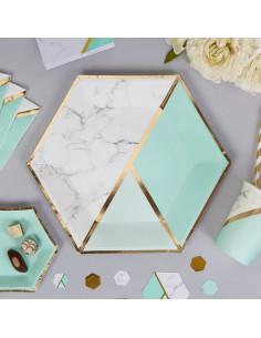 8 grandes assiettes effet marbre vert menthe et or