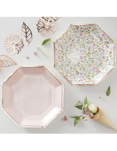 8 assiettes fleurs et pois rose pastel avec bordure rose gold