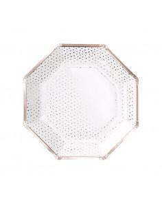 8 grandes assiettes blanches avec bord et pois rose gold