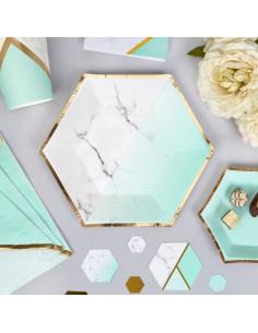 8 petites assiettes rayures dégradées vert menthe effet marbre contour doré