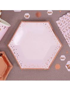 8 grandes assiettes rose pastel étoiles rose gold