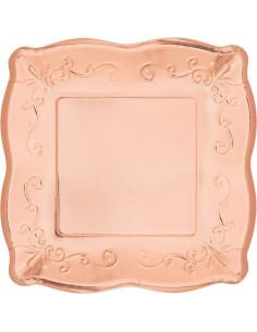8 petites assiettes carrées dessin en relief rose gold