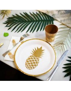 8 assiettes blanches ananas dorés