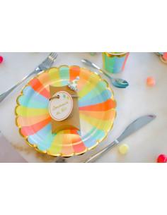8 grandes assiettes rayures pastels multicolores bordure frise dorée