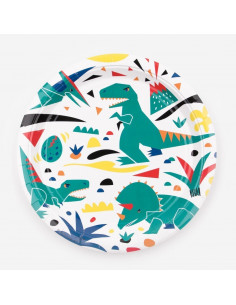 8 grandes assiettes dinosaures my little day