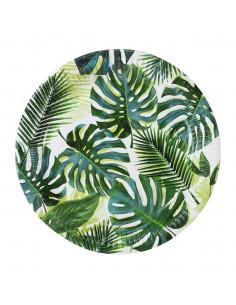 8 grandes assiettes feuilles de palmier