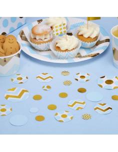 Confettis de table chevrons et pois bleus et dorés