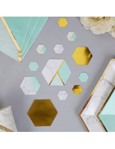 Confettis de table dorés effet marbre vert menthe et dorés vert menthe