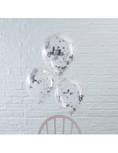 5 ballons transparents avec confettis argents à l'intérieur