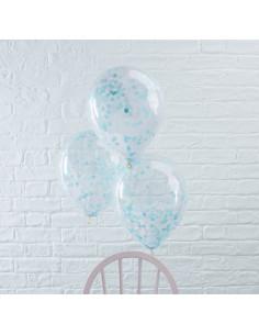 5 ballons transparents avec confettis bleus à l'intérieur