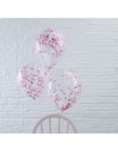 5 ballons transparents avec confettis roses à l'intérieur
