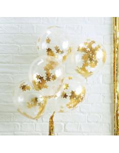 5 ballons transparents avec confettis étoiles dorées à l'intérieur