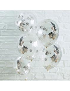 5 ballons transparents avec confettis étoiles argents à l'intérieur