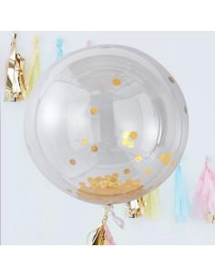 3 ballons géants transparents avec confettis dorés à l'intérieur