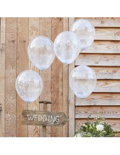 5 ballons transparents avec confettis blancs à l'intérieur