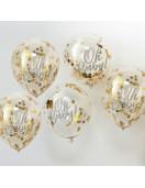 """5 ballons transparents avec écriture """"Oh Baby"""" et confettis dorés"""