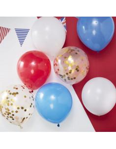 8 ballons bleus rouges blancs transparents confettis dorés