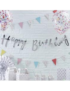 "Guirlande décorative argent écriture ""Happy birthday"""