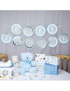Guirlande Baby Shower Bleu et or