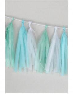 """Guirlande franges en papier de soie """"Cool""""couleur vert menthe bleu et blanc A little Lovely Company"""