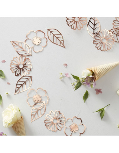 Guirlande fleurs et feuilles rose gold