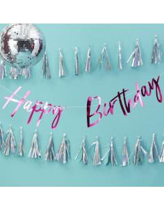 "Guirlande décorative fuchsia écriture ""Happy birthday"""