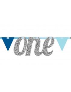 Guirlande fanions bleus et argent avec mot One argent