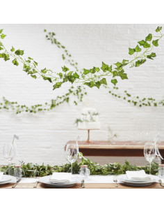 5 guirlandes feuilles de vignes en tissu