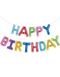"""Guirlande ballons métalliques """"Happy Birthday"""" multicolores"""