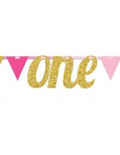 Guirlande fanions rose et or avec mot One doré