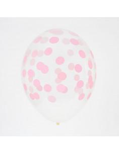 5 ballons transparents imprimés pois rose pastel my little day