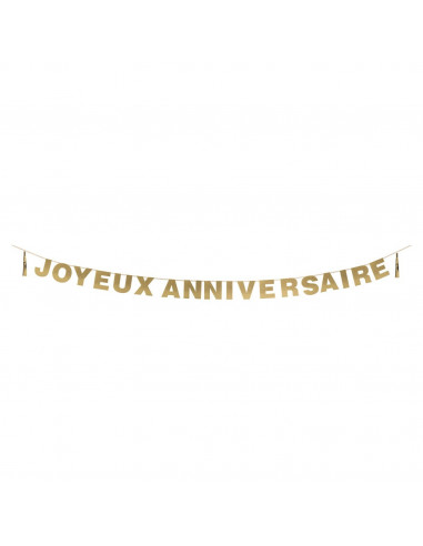 """Guirlande paillettes dorées écriture droite""""Joyeux anniversaire"""""""