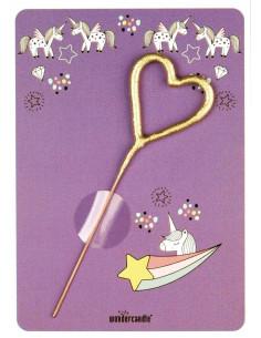 Petite Carte Licorne Mauve avec bougie magique cœur