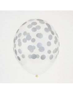 5 ballons transparents imprimés avec pois argent My little day
