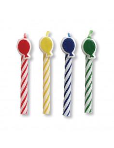 8 bougies anniversaire ballons multicolores