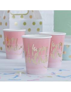 """8 gobelets dégradés rose """"Happy birthday"""" métallique"""