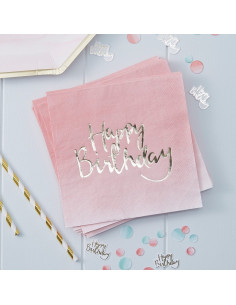 "20 serviettes dégradées roses ""Happy birthday"" métallique"